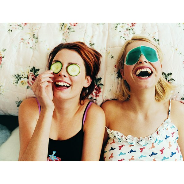 Cucumber slices or eye masks can reduce bags under the eyes.