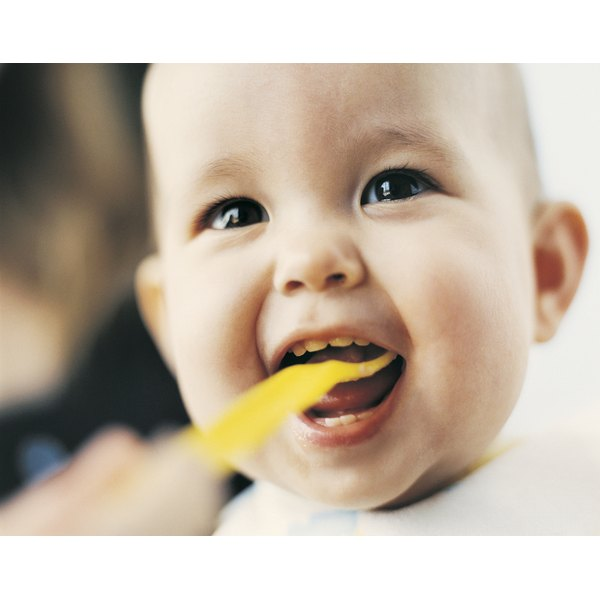 An open mouth is a sign of readiness for solid foods.
