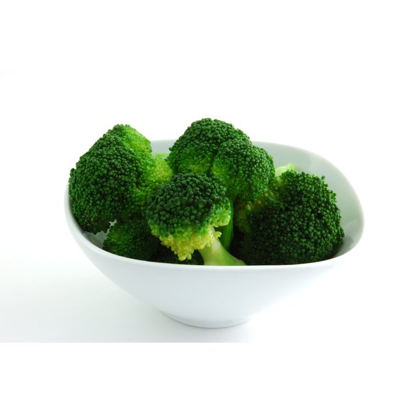 Microwaved broccoli sits in a white bowl on a white counter.