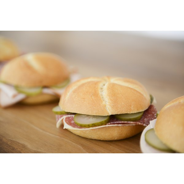 Sandwiches on a table.