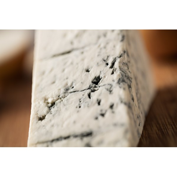 A close-up of gorgonzola blue cheese.