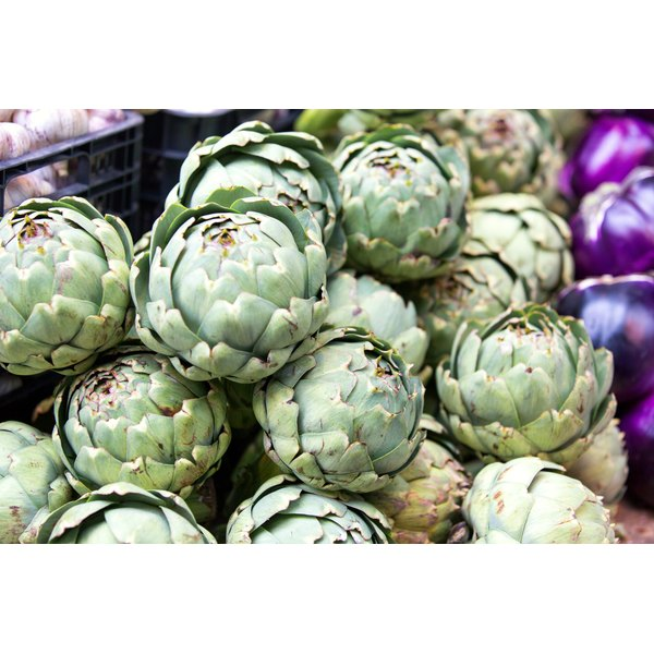 Artichokes for sale at a market.