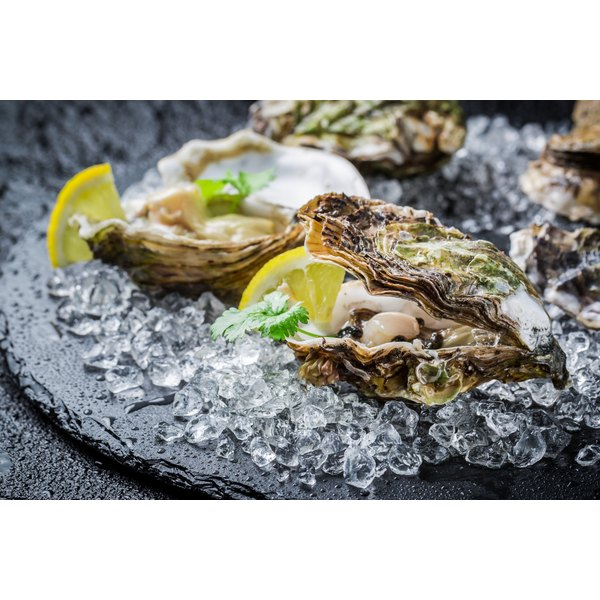 A plate of raw oysters over ice.