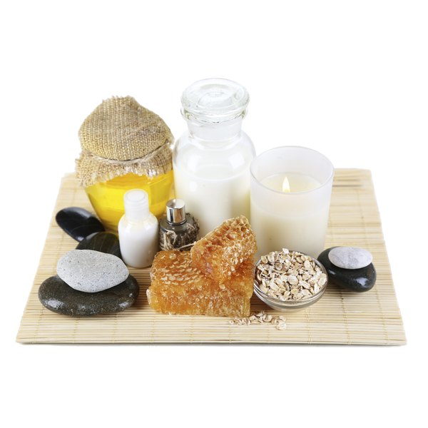 Honey, oatmeal and other spa materials.