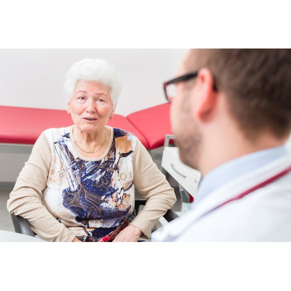 Senior woman talking to her doctor.