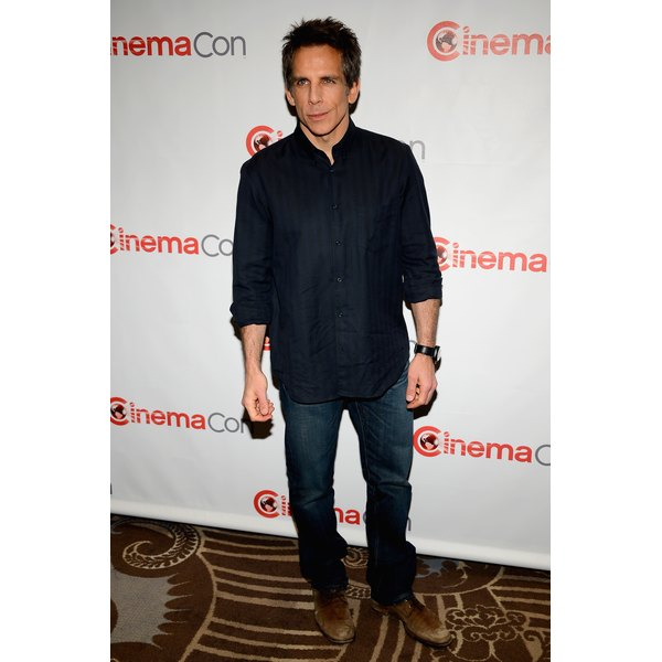 Actor Ben Stiller pairs brown oxfords with his jeans.