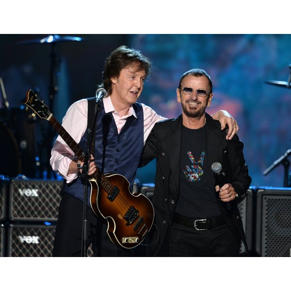 Paul with awesome waistcoat and Ringo