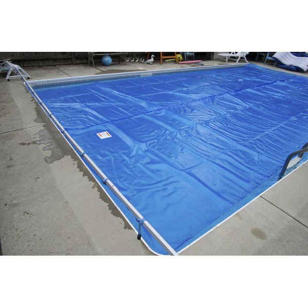 A vinyl swimming pool cover.