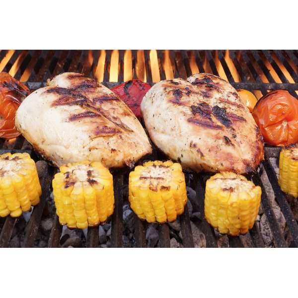 Roasted chicken breast on the grill.