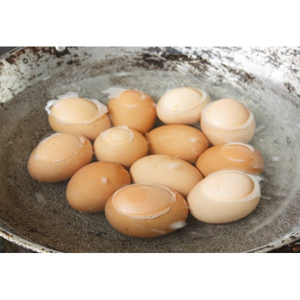 A pot of boiled eggs.