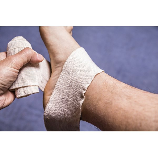You may need to wrap your sprained ankle in compression bandages.