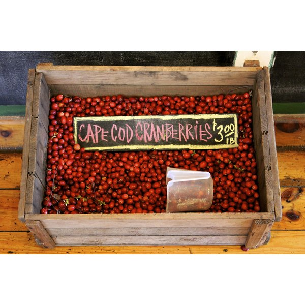rustic box of cranberries at farmers market