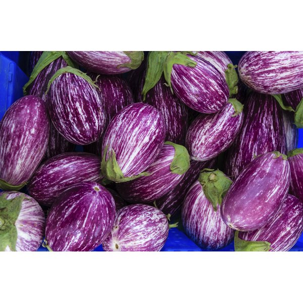 Striped eggplants for sale at a market.