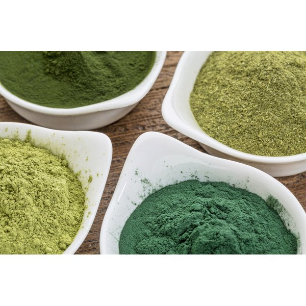 A dish of blue green algae powder and other supplements from the sea.