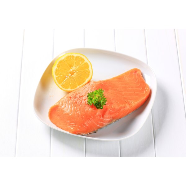 Salmon and lemon on a plate