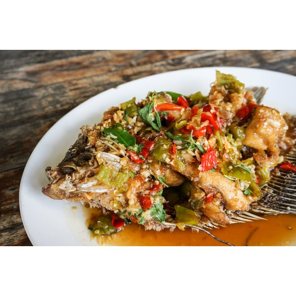 A plate of baked tilapia.