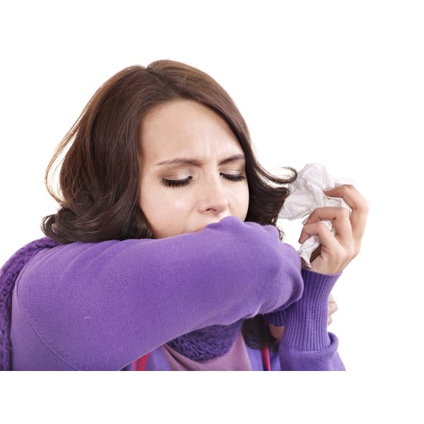 Young woman with a cough.