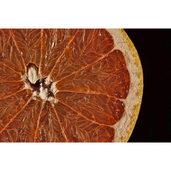 A closeup of a slice of grapefruit with seed.