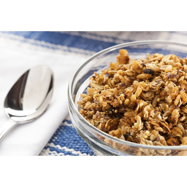 Organic cereal with oats, almonds, flax, and sunflower seeds