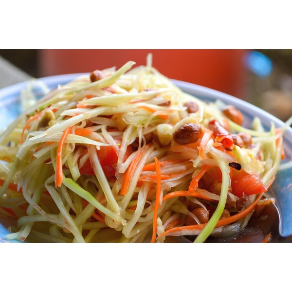 A close-up spicy Thai papaya salad.