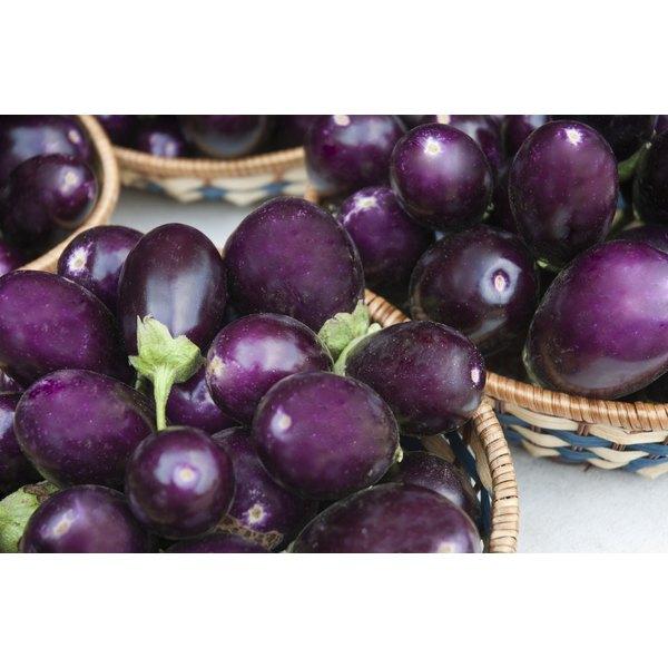 baskets of fresh eggplants