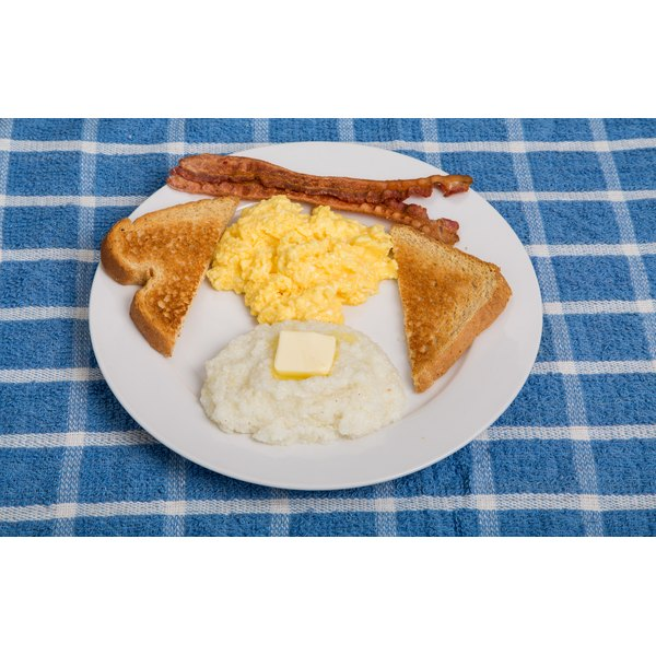 Grits can be enjoyed on their own, but they are typically served with eggs in Southern breakfasts.