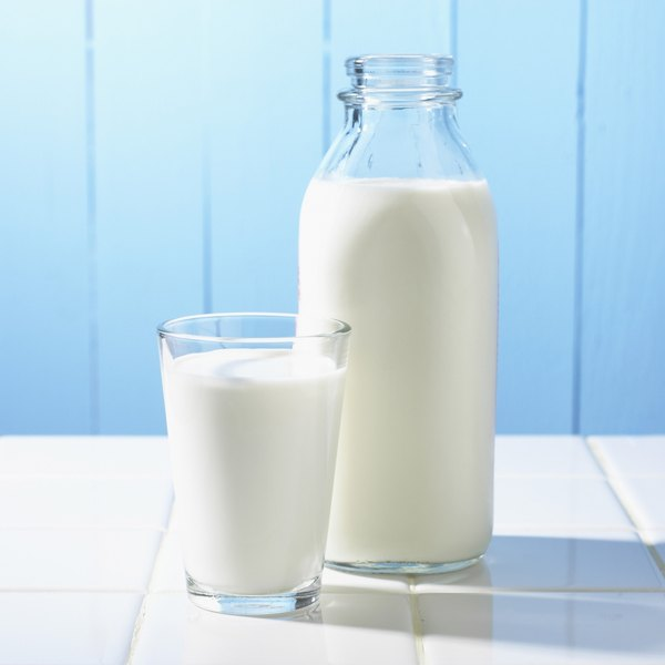 Bottle and glass filled with milk