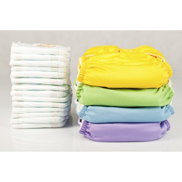 Stack of diapers and diaper covers.