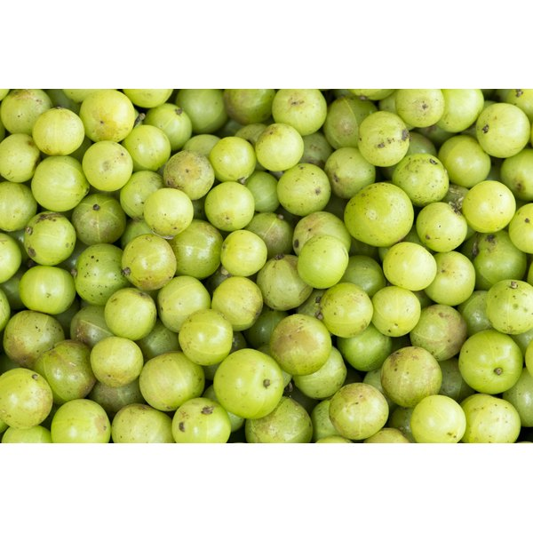 Close-up of Indian Gooseberry fruits on display at a market.