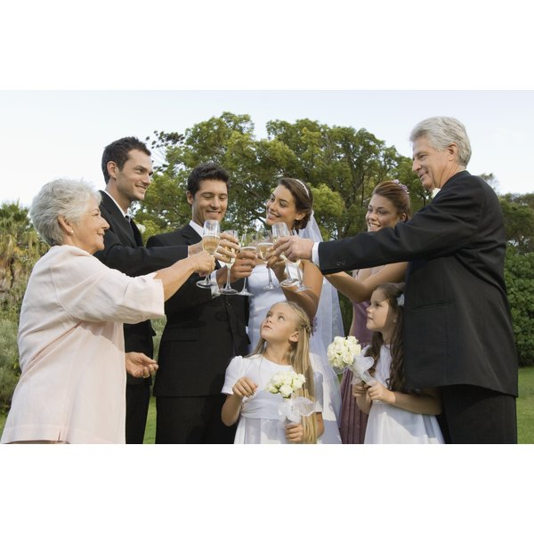 Family toasting at a wedding.