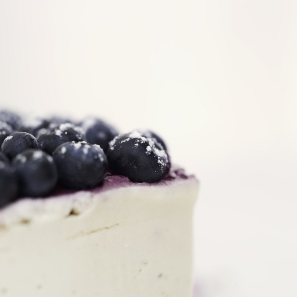 Blueberries on a cheesecake