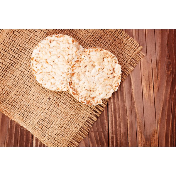 Close-up of rice cakes on a placemat.