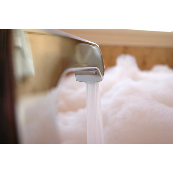 Bubble bathtub being filled