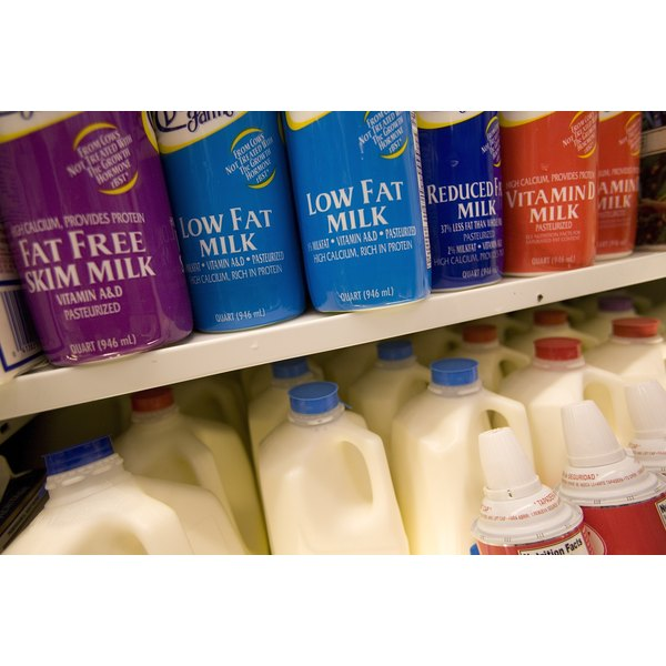 Assortment of milk products at a market
