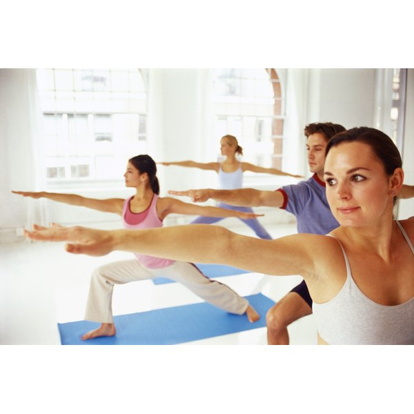 Young people in a yoga class.