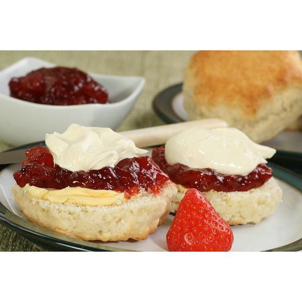 Scones are traditionally eaten with clotted cream and jam.