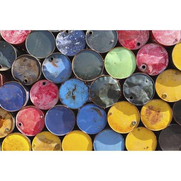 Used oil barrels.