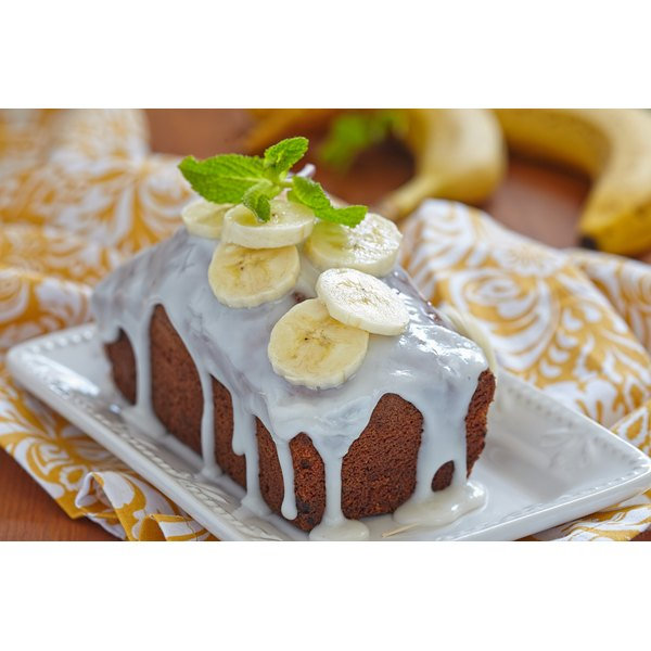 Banana bread with yogurt frosting.