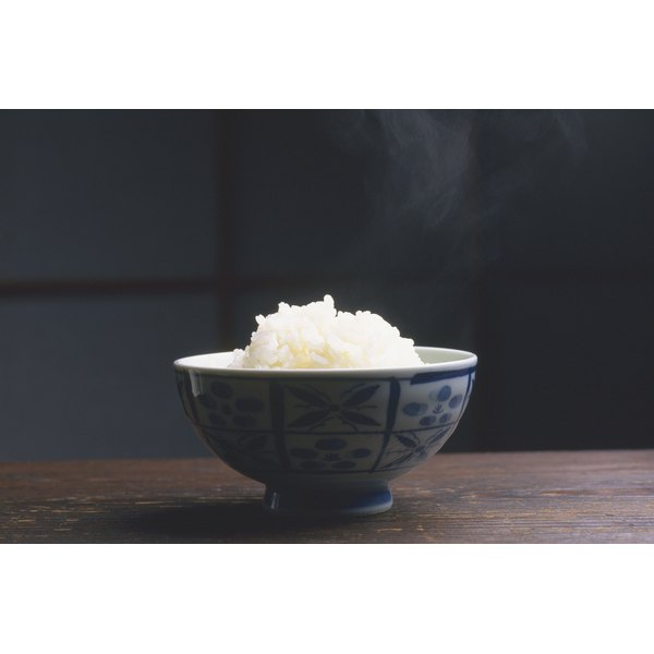 A bowl of steaming rice.