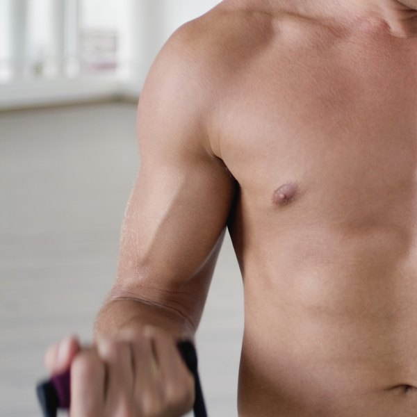 Bilateral gynecomastia is enlarged breasts in men.