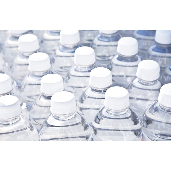 Close-up of a pile of water bottles.