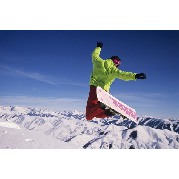 A snowboarder in the air.