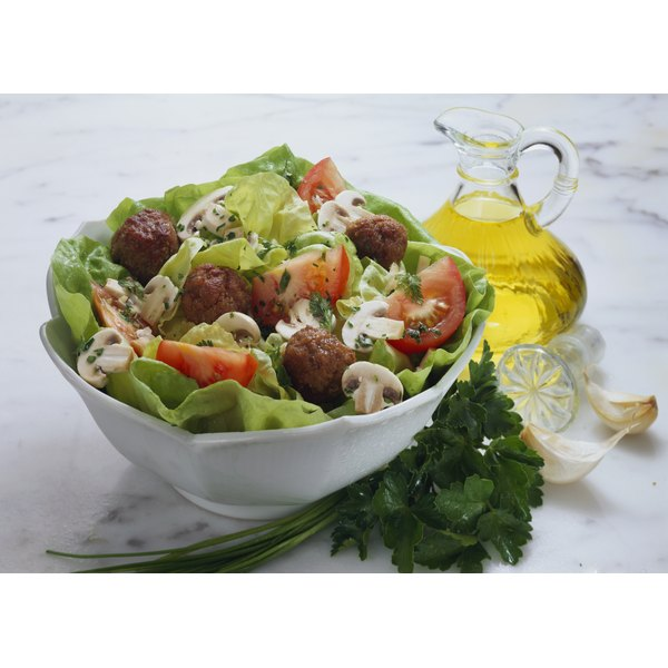 A salad with a light oil dressing