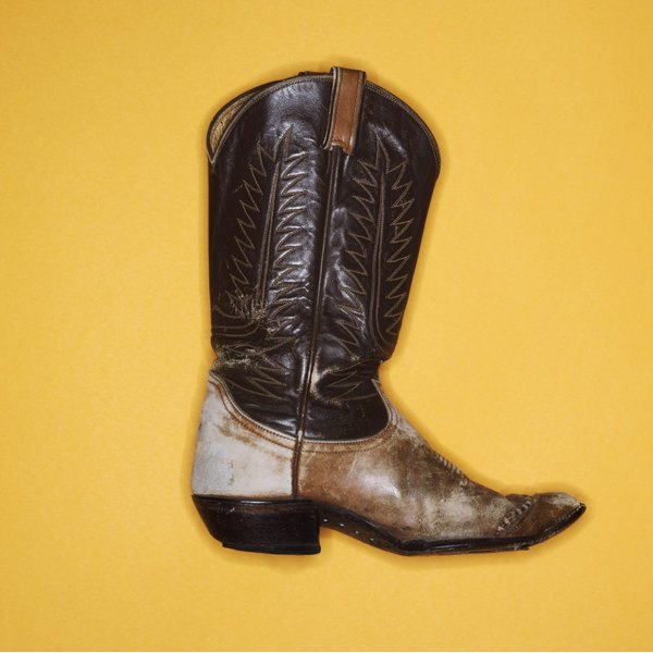 Worn-in boots can have spots of disocloration for an aged effect.