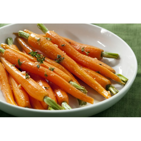 Cooked baby carrots.