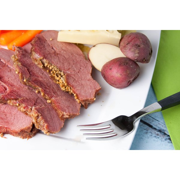 Plate with corned beef, potatoes and carrots