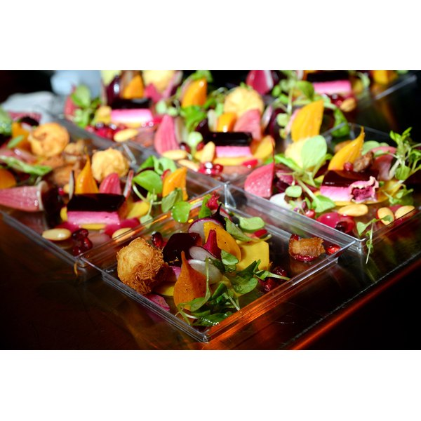 Individual salads with baby beets and radish