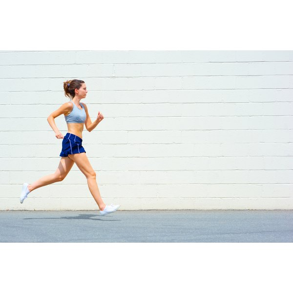 A young woman is jogging.
