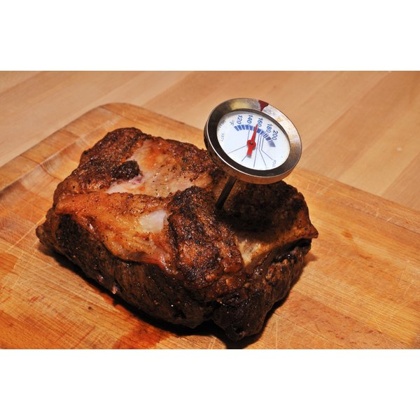 Meat thermometer in a roast