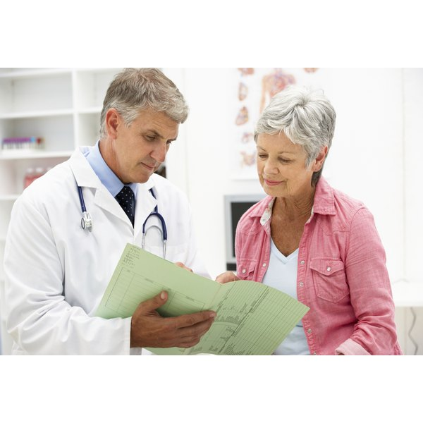 Patient discussing B-12 test results with her doctor.